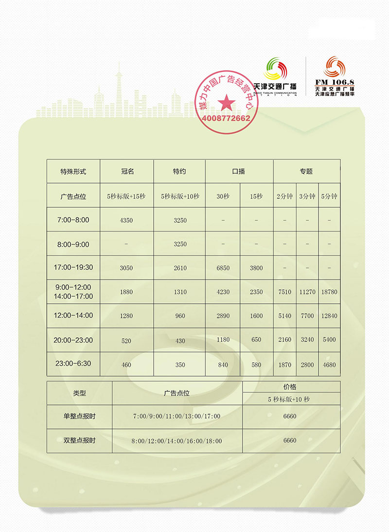 2019年天津交通广播广告价格表