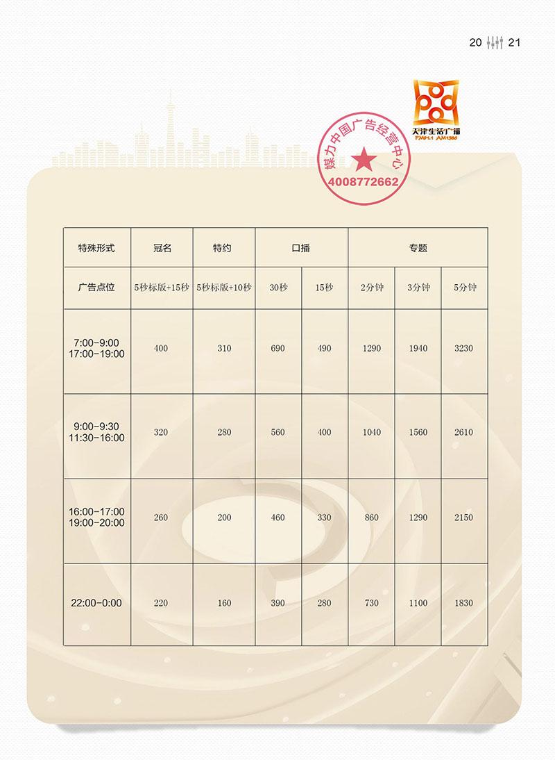 FM91.1天津生活广播广告价格表