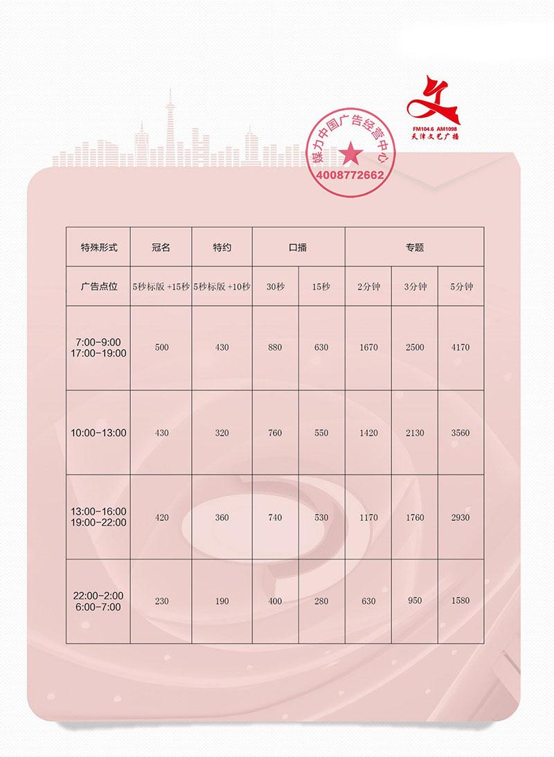 FM104.6天津文艺广播广告价格(2019年)