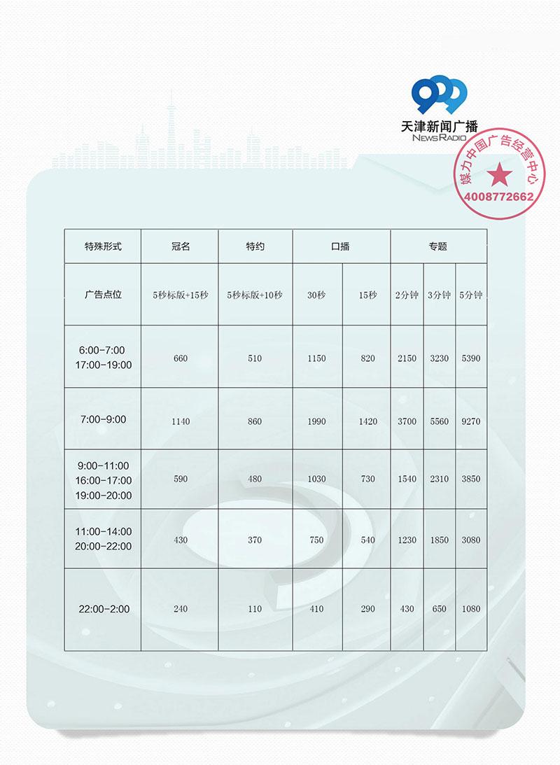 天津新闻广播2019年广告刊例