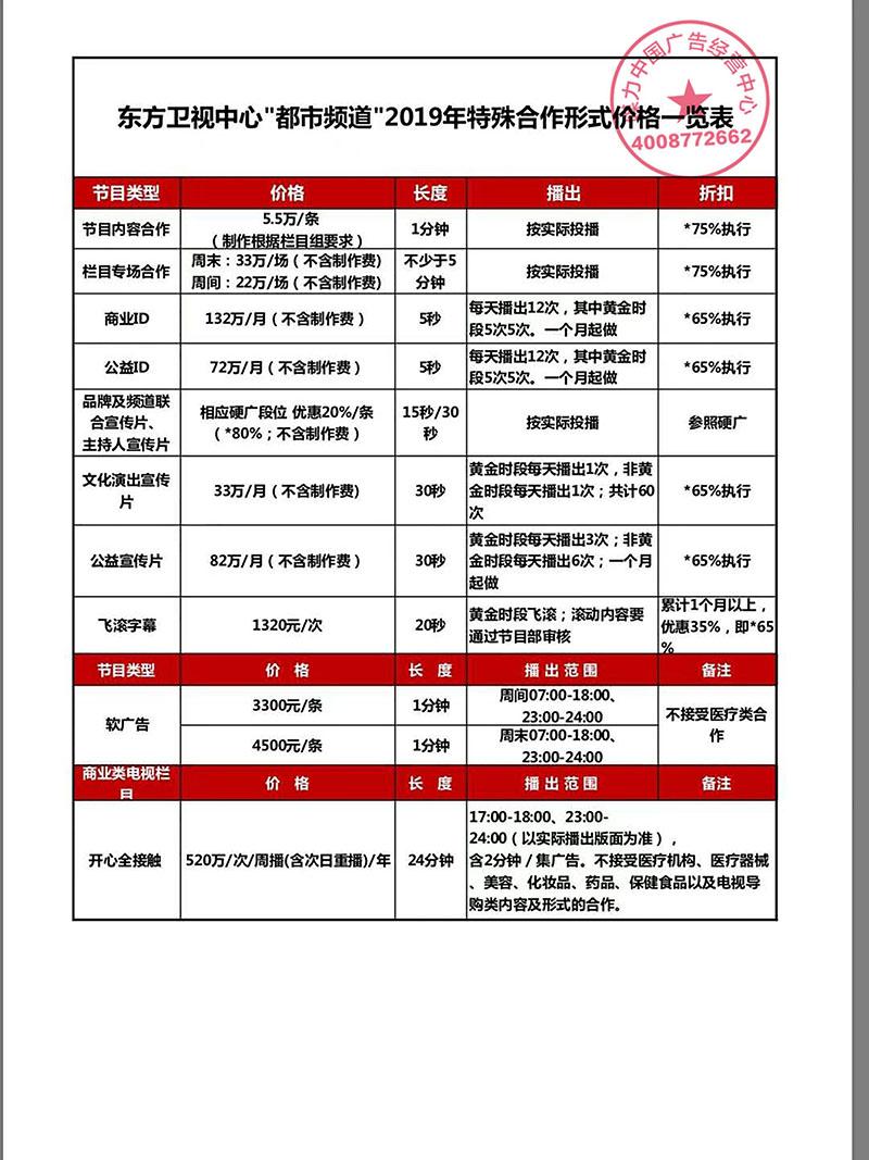 上海都市频道2019年广告刊例